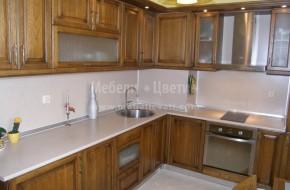 """Кухня """"Рустик"""" по индивидуалин проект. Използвана е патина за изкуствено състаряване на дървото.В кухненските шкафове са вградени пералня,миялна,фурна и хладилник.Цена на шкафовете -4900 лв."""