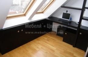 Дебелината на видимите страници и вратичките е 19мм.Мебелите са монтирани в мезонет със скосени стени и таван.