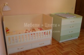 Обзавеждането в стаята е: бебешко легло,скрин,секция,и вграден гардероб.За оцветяване на естествения фурнир са използвани бои на Вернилак.В скрина са използвани четири тоналности на зеления цвят.
