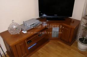 Мебели за дневна стая с място за телевизор.