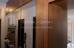 Троянски мебели за коридор двулицеви ,служат за преграда на две стаи/хол и коридор/Огледални врати с буков кант