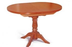 Кръгла маса за трапезария с масивен крак от бук фурнир. Разтегателната част стои в масата с механизъм, като в разгънато състояние диаметърът и достига до 1100мм.