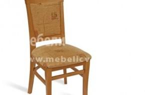 Стол с тапицирана облегалка и извити крака със спънка.