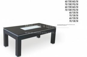 Този модел се предлага и с метален кант на плота на масата