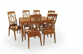 Масивен буков комплект включващ маса 1 бр. и 6 бр .столове