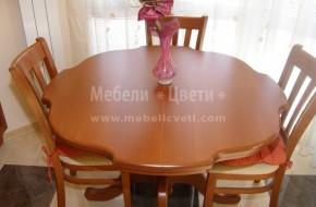 Маса и столове от бук. Кръгла маса за хранене по поръчка от масив.