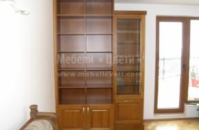 Библиотека и еденична трапезарна витрина от бук и ПДЧ/фурнир бук/.