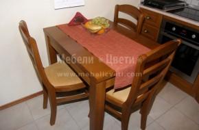 Маса и столове за кухня или трапезария, подходяща и за ресторанти. Плотът на масата е от ПДЧ естествен буков фурнир. Царгите и краката от бук. Може да бъде изработена в разтегателен вариант