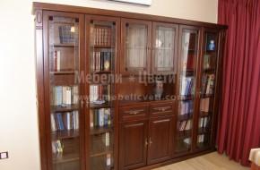 Библиотека от череша със стъкла -витражи.