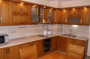 Кухня с трапезария от бук масив по поръчка и индивидуален проект на клиента.Цена на мебели за кухня от бук 4850 лева